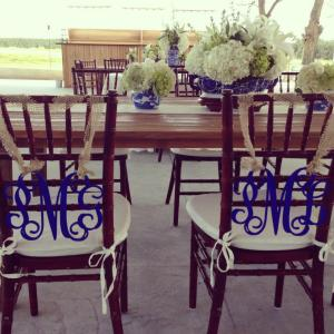Bride & Groom Monogrammed Chair Swags